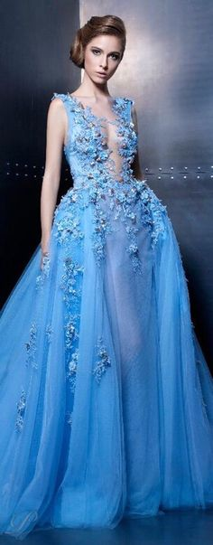 Ziad Nakad Haute Couture 2015 light electric blue evening gown with floral appli. - Nora Campillo de Fernandez - - Ziad Nakad Haute Couture 2015 light electric blue evening gown with floral appli. Blue Evening Gowns, Evening Dresses, Formal Dresses, Dresses 2016, Wedding Dresses, Dress Couture, Couture Fashion, Blue Fashion, Look Fashion