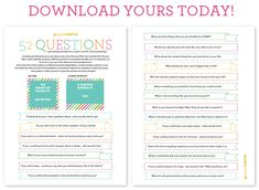 52 Questions for you to answer, one each week, so you can look back over the year and remember your thoughts.