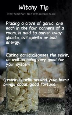 Witchy tip - Garlic - Pinned by The Mystic's Emporium on Etsy Wiccan Witch, Magick Spells, Healing Spells, Witch Rituals, Wiccan Magic, Green Witchcraft, Wicca Witchcraft, Every Witch Way, Under Your Spell