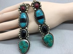 NAVAJO ~ LARGE ~LONG DANGLING~TURQUOISE ~STERLING SILVER ~GLORIA CHAVEZ~ EARRING