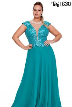 Vestidos Plus Size - Coleção 2016 - Aiza Collection Mais Plus Size Prom, Plus Size Gowns, Evening Dresses Plus Size, Plus Size Wedding, Evening Gowns, Plus Size Summer Outfit, Plus Size Outfits, Vestidos Chiffon, Vestidos Plus Size