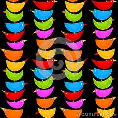 (C) Celia Ascenso - Colorful Bird Totem Seamless Background Pattern.
