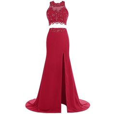 Tideclothes Two Pieces Beads Prom Dress Long Applique Evening Dress... ($85) ❤ liked on Polyvore featuring dresses, long two piece dress, 2 piece prom dresses, beaded dress, red dress and prom dresses