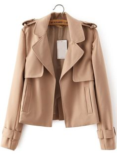 Apricot Lapel With Pockets Coat 28.33
