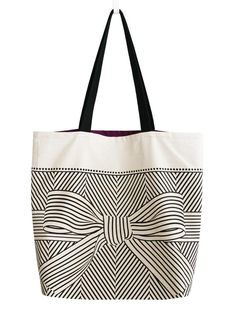 Big bow large canvas tote bag by soraam on Etsy, $42.00