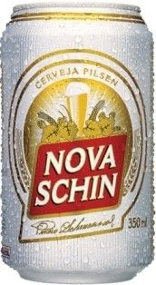 Cerveja Nova Schin, estilo Standard American Lager, produzida por Schincariol, Brasil. 4.7% ABV de álcool.