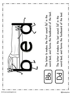 **FREE** b-d Letter Reversal Teaching Poster Using the Word Bed in Color Worksheet.Teaching your child the difference between lowercase letters b and d to avoid or correct reversal problem using the word BED with this printable poster. Dyslexia Activities, Letter Activities, Phonics Activities, Learning Activities, Kids Learning, Phonics Worksheets, Writing Worksheets, Teaching Vowels, Teaching Abcs