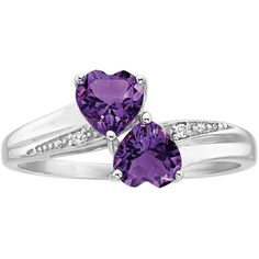 Amethyst Double Heart Ring in Sterling Silver (1.965 UYU) ❤ liked on Polyvore featuring jewelry, rings, purple, heart band ring, sterling silver jewelry, diamond accent rings, heart shaped amethyst ring and amethyst rings