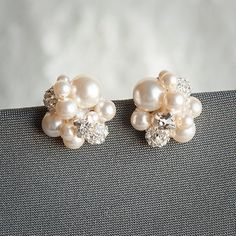 Pearl Cluster Wedding Earrings Bridal Stud by GlamorousBijoux