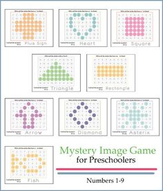 Preschoolers will love these mystery pictures. Such a fun way to practice the numbers 1-9 and shapes.