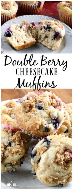 Double Berry Cheesecake Muffins - an easy, homemade muffin recipe packed with fresh berries and a sweet cheesecake filling! From Butter With a Side of Bread