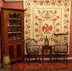 Corner cupboard, incredible quilt, windsors...beautiful!