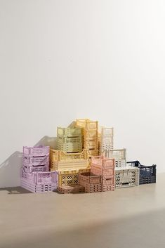 Home + Apartment Furniture Coffee Table Pouf, Desk Essentials, Pastel Room, Pastel Art, Vinyl Record Storage, Shipping Crates, Crate Storage, Hidden Storage, Storage Bins