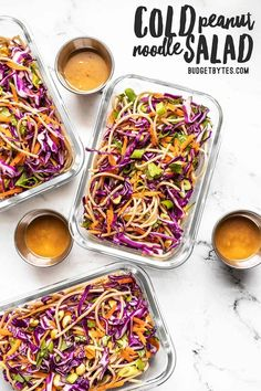 Cold Peanut Noodle Salad with Peanut Lime Dressing - Budget Bytes - - This Cold Peanut Noodle Salad with homemade peanut lime dressing is the perfect meal prep for summer! No reheating necessary. Lunch Recipes, Summer Recipes, Vegetarian Recipes, Cooking Recipes, Healthy Recipes, Oats Recipes, Simple Recipes, Salmon Recipes, Vegan Vegetarian