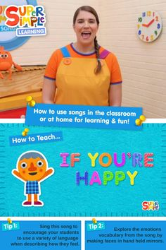 """How do I teach the song """"If You're Happy"""" to kids while keeping them active and entertained? Caitie demonstrates how to teach this active song for kids that explores different emotions to help kids express themselves. """"If you're happy and you know it clap your hands!"""" Preschool Songs, Kids Songs, Toddler Preschool, Transition Songs, Teaching Emotions, Classroom Management Strategies, Different Emotions, English Language Learners, Emotional Development"""