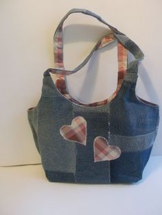 Small Denim Patchwork Handbag/Tote with Heart by EarthTribes, £12.00