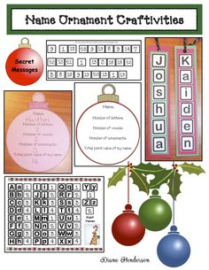 Making these cute keepsake ornaments are a quick, easy & fun way to practice a variety of math skills too. Christmas Names, Christmas Math, Christmas Ornament Crafts, Christmas Activities, Upper And Lowercase Letters, Last Day Of School, Letter Recognition, Educational Activities, Math Skills
