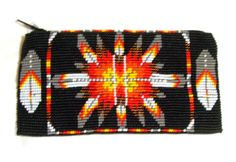 """A beautiful beaded tote bag which measures 7"""" x 3.5"""" Fabric lined inside. Zips close. Loom woven Beadwork is on BOTH sides of the bag & nicely put together. $39.95 w/ free shipping! #totebag #beaded #regalia #tote #nativeamerican"""