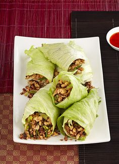 Asian lettuce wraps - a healthy take on an Asian classic - just substitute the floury wrap for carb-free lettuce. Less than 300 calories a roll, this recipe comes from olive reader Sophie Hyam
