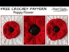 Click banners to purchase these Maggie's Crochet Patterns and Supplies! Free Pattern is below.      Button Poppy Flower  Skill Level: Easy Materials: This flower can be worked with any weight of yarn. Finer weights will create a smaller flower, and bulkier weights will create a larger flower. Use the hook size appropri
