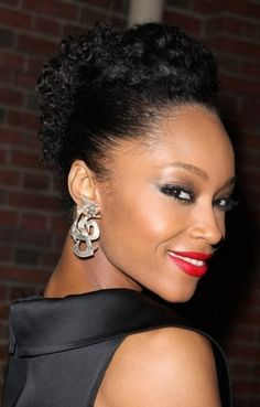 Coily updo hairstyle for African American women