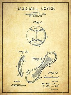 Baseball Patent Poster featuring the drawing Baseball Cover Patent Drawing From…