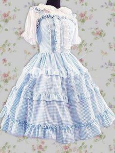Baumwolle Blau Sleeveless Whtie Spitze Sweet Lolita Kleid