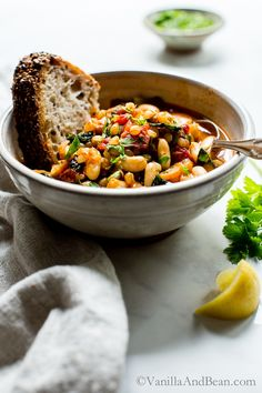 Packed with earthy flavors, texture rich Smoky White Bean Kale and Wheat Berry Stew is quick to pull together with a long, slow simmer. Serve with the crustiest, seediest sourdough for a super cozy meal. Vegan | Vegetarian Recipes