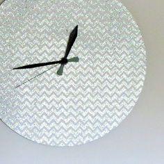 Unique Wall Clock Glitter Wall Clock Silver Chevron by Shannybeebo, $50.00