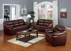 3 Pc. Modern Brown Bonded Leather Match Living Room Set