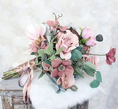 Gorgeous pink and grey wedding palette. Silk flower bridal bouquet perfect for winter weddings. Afloral.com wedding trends