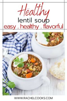 Hearty and healthy, this easy lentil soup recipe is loaded with flavorful veggies and pasta. Lentil soup is a satisfying, meatless entree you can serve in under an hour. Make this vegetarian dish with pantry staples on the stovetop or in the crockpot. Yummy Pasta Recipes, Easy Chicken Recipes, Lunch Recipes, Whole Food Recipes, Dinner Recipes, Cooking Recipes, Crockpot Recipes, Easy Recipes, Vegetarian Dinners