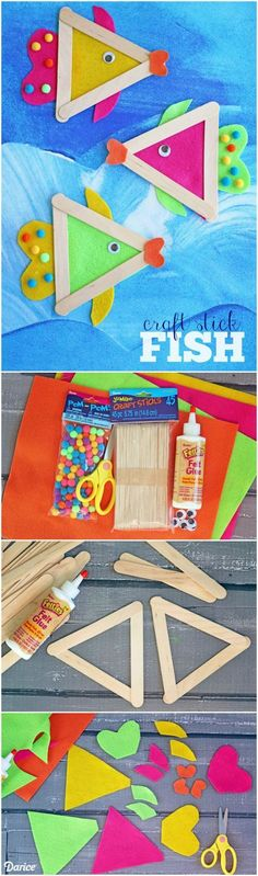 Dive right in and make some one-of-a-kind, kid friendly DIY fish crafts today! Dive right in and make some one-of-a-kind, kid friendly DIY fish crafts today! Crafts for Kids Ocean Crafts, Fish Crafts, Craft Stick Crafts, Paper Crafts, Craft Sticks, Decor Crafts, Lollypop Stick Craft, Wood Crafts, Craft Art
