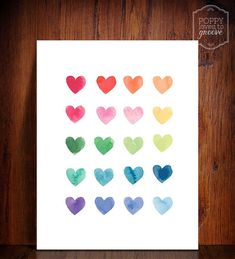 Colourful Rainbow of Watercolour Hearts by poppylovestogroove, $5.50