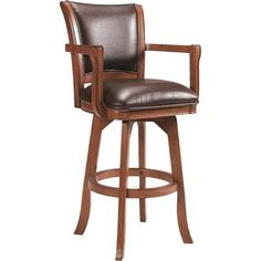 black leather bar stools wood arms oak - Google Search