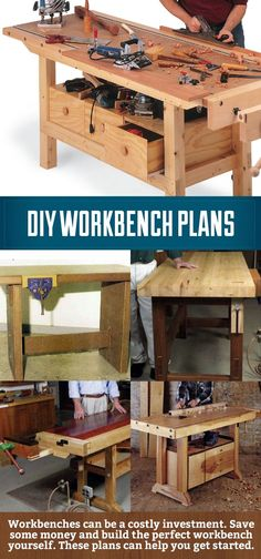 DIY Workbench plans, save some money and build your own workbench. Even better customize the plans and make it the workbench of your dreams!