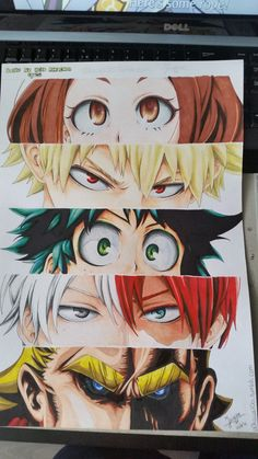 Boku no Hero Academia || Uraraka Ochako, Katsuki Bakugou, Midoriya Izuku, Todoroki Shouto, All Might (Dibujo/Drawing)