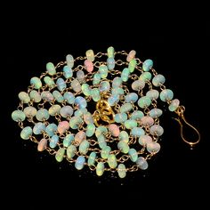"""33CRTS 4to4.5MM 24"""" ETHIOPIAN OPAL RONDELLE BEADS CHAIN NECKLACE OBI1581 #OPALBEADSINDIA"""