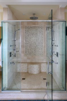Shower, bench and beige tiles   | Usual House