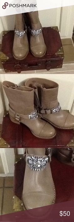 """Gianni Bini Boots Barret  style ankle boots 8.5 M  in Sahara Sand Color. 9 1/2 inches high and 1"""" wide is the heel. These boots are new , and unworn and come in there original shoe box. Beautiful shimmering silver rhinestones . Gianni Bini Shoes Ankle Boots & Booties"""