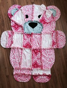 Pink rag tie bear blanket for a baby shower