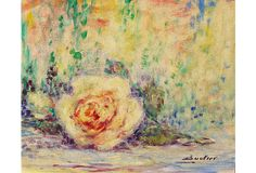 """A period midcentury Impressionist-style oil still-life of a rose blossom. Signed lower right, """"Boulier"""" for Lucien Boulier (French, 1882-1963), a listed artist and painted circa 1950. Old exhibition label on verso from Galaxy Gallery in Phoenix, Arizona bearing artist's name and titled The Rose. Unframed."""