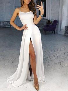Split-Front Sleeveless Spaghetti Straps A-Line Prom Dress