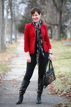 Already Pretty outfit featuring red blazer, Alexander McQueen skull scarf, leopard print handbag, Diesel boots