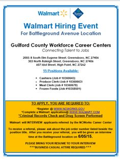 EMPLOYMENT OPPORTUNITY (Applicants must be registered on: www.ncworks.gov