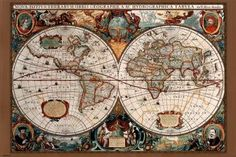 17th Century World Map (Antique) Art Poster Print - 24x36 Poster Print  36x24 Poster Print  36x24: http://www.amazon.com/Century-World-Antique-Poster-Print/dp/B002514W3S/?tag=livestcom-20