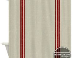 Shower Curtain Design / Distressed Vintage French Country Grain Sack Art / Red Blue Green Grey Gray See 2nd pic / 12 stitch-enforced eyelets