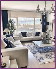 9 Best Living Room Lighting Ideas - Home Bigger Blue And White Living Room, Blue Living Room Decor, Elegant Living Room, Home Living Room, Interior Design Living Room, Living Room Designs, Formal Living Rooms, Dining Rooms, Home Room Design