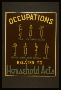 Poster promoting occupations related to household arts, such as cook, nursemaid, teacher, dietician, lunch room worker, waitress, and nurse, showing women in the uniforms of the various occupations.    NOTES: Date stamped on verso: Mar 10 1938.