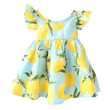Hot venda nova 2016 vestido da menina de verão frutas lemon padrão vestido da menina do bebê vestidos de crianças vestidos de verão crianças voar manga tyh-50804(China (Mainland))